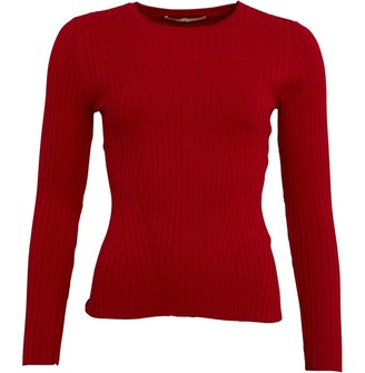 Only Womens Natalia Long Sleeve Rib Knit Pullover Jester Red