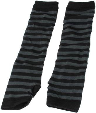 sourcingmap Women Stripe Print Knitted Fingerless Elbow Length Gloves Warmers Pair Black Gray