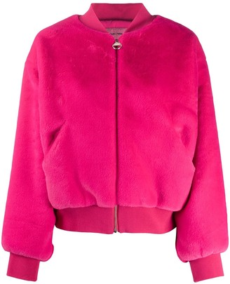 Chiara Ferragni Logomania faux-fur bomber jacket