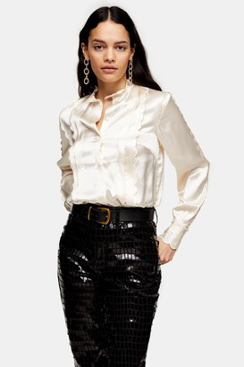 Topshop Ecru Scallop Satin Shirt