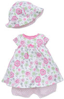 Offspring Baby Girls Floral Print Coverall and Hat Set