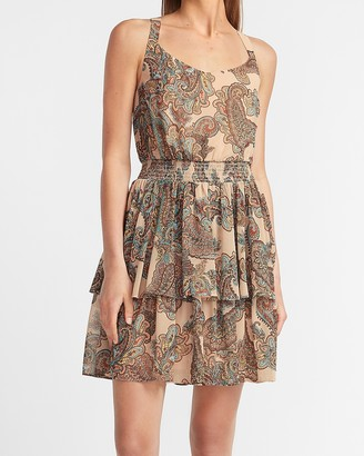 Express Paisley Tiered Ruffle Fit And Flare Dress