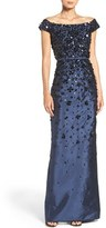 Adrianna Papell Embellished Off the Shoulder Taffeta Gown