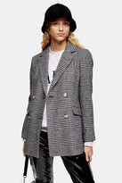 Topshop Black And White Check Single Breasted Blazer