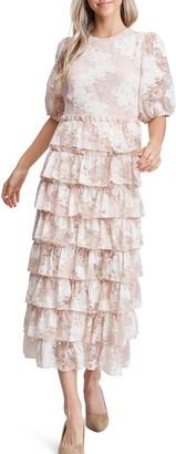 En Saison Lace Inset Cotton Blend Dress