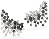 Black Diamond Hueb White & 18K White Gold Ear Crawler Earrings