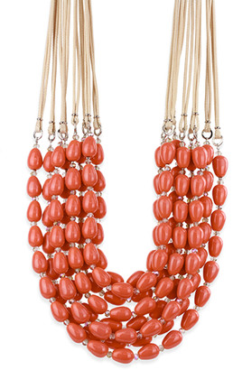 Saachi Style Women's Necklaces ORANGE - Orange Multi-Strand Beaded Statement Necklace