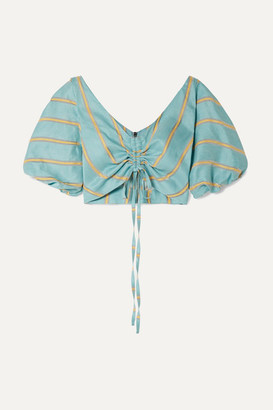 Paper London Caicos Cropped Gathered Striped Linen-blend Top - Turquoise