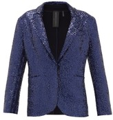 Norma Kamali Single-breasted Sequinned Jersey Blazer - Womens - Navy