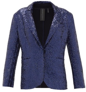 Norma Kamali Single-breasted Sequinned Jersey Blazer - Navy