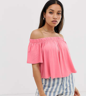 Asos DESIGN Petite off shoulder swing top in pink