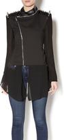 Gracia Leather Chiffon Jacket