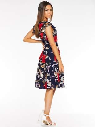 Quiz Floral Frill Sleeve Skater Dress - Navy/Red
