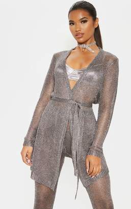 PrettyLittleThing Pewter Belted Metallic Cardigan