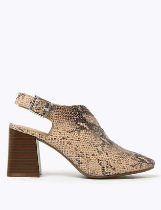 Marks and Spencer Animal Print Block Heel Slingback Shoes