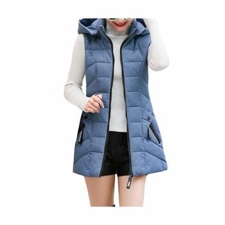 KUKICAT Women Winter Women Cotton Pocket Zipper Sleeveless Short Waist OutwearCoat Jacket (5XL