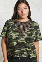 Forever 21 FOREVER 21+ Plus Size Camo Mesh Top