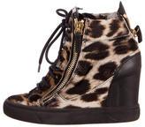 Giuseppe Zanotti Leopard Print Wedge Sneakers