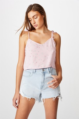 Cotton On Astrid Cropped Tie Strap V Neck Cami