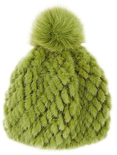 c6d567be9 Women's Mink & Fox Fur Beanie - Green