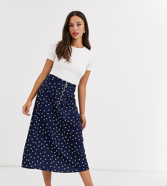 Wednesday's Girl midi skirt with front zip in bright spot-Navy