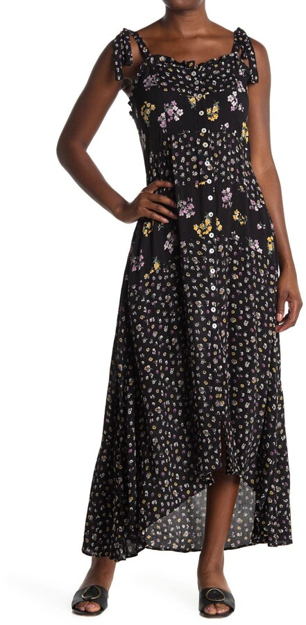Thumbnail for your product : Angie Floral Tie Strap Button Front High/Low Maxi Dress