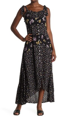 Angie Floral Tie Strap Button Front High/Low Maxi Dress