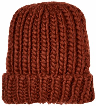 Urban Outfitters UNDER ZERO Women Rib Acrylic Knitted Beanie hat Slouchy Chunky Rust red Cold Winter Cap