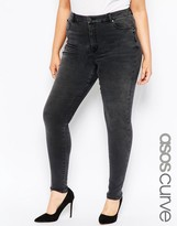 Asos High Waisted Sculpt Me Skinny Jeans in Brooklyn Washed Black