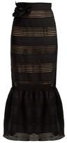 Zimmermann Corsage Lace-insert Linen Skirt - Womens - Black