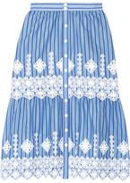 Miguelina Carolina Crochet-trimmed Striped Cotton Skirt - Light blue
