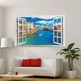 JMHWALL Fake Window 3D Wall Sticker Vinyl Material Multi Color Mural Art for Living Room Sofa Background Bedroom Decoration