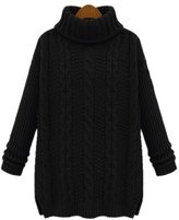 ARJOSA® Women's Fashion Cable Knit Turtleneck Long Sleeve Pullovers Sweaters Top ( Black)