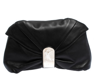 Giuseppe Zanotti Black Pleated Leather Flap Clutch