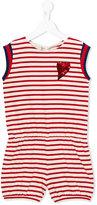 Gucci Kids - GG Web Breton stripe playsuit - kids - Cotton/Viscose/Metallic Fibre - 5 yrs