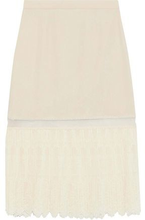 Stella McCartney Pleated Embroidered Tulle And Stretch-crepe Skirt