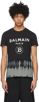 Balmain Black Tie-Dye Logo T-Shirt