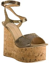 gold diamond cork platform wedges