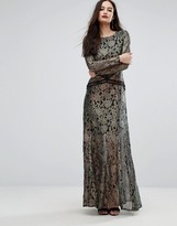 Boohoo Metallic Lace Maxi Dress