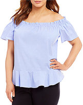 Gibson & Latimer Plus Off-The-Shoulder Poplin Peplum Blouse
