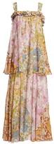 Zimmermann Super 8 Floral Tiered Silk-Blend Maxi Dress