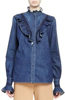 Stella McCartney Ruffled Denim Blouse, Dark Classic Blue