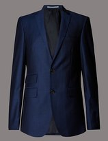 Marks and Spencer Big & Tall Blue Tailored Fit Wool Jacket