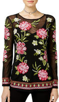 I.N.C International Concepts Petite Floral Illusion Embroidered Top