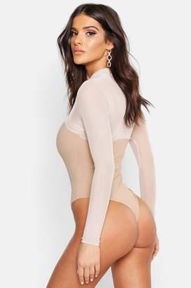boohoo Rib Mesh High Neck Long Sleeve Bodysuit