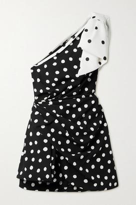 Saint Laurent Bow-embellished One-shoulder Draped Polka-dot Crepe Mini Dress - Black