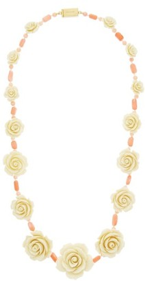 Prada Rose And Bead Necklace - Coral