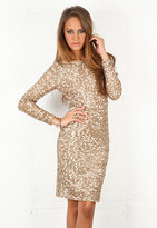 Ramsey Boat Neck Sequin Dress in Brown Combo - by Alice + Olivia