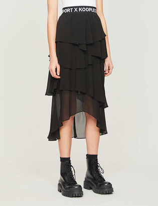 The Kooples Sport Logo-waist crepe midi skirt