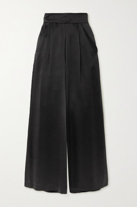 Loretta Caponi Sabrina Silk-satin Wide-leg Pants - Black